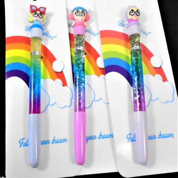 "7.5"" Kids Topper Theme Pen w/ Water & Glitter  12 per pk .58 each"