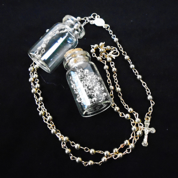 "30"" Glass Bead Rosary in Glass Bottle Gold & Silver  Colors  .58 ea"