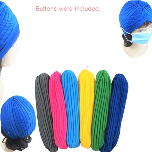 6 Asst Color Pleated Turbins w/ Button to Hold Mask Cord 12 per pk  $ 1.08 each