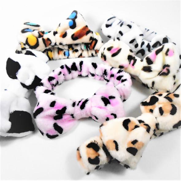Trending  SPA  Stretch Headband w/ Bow  Faux Fur Feel Animal Print  .58 each