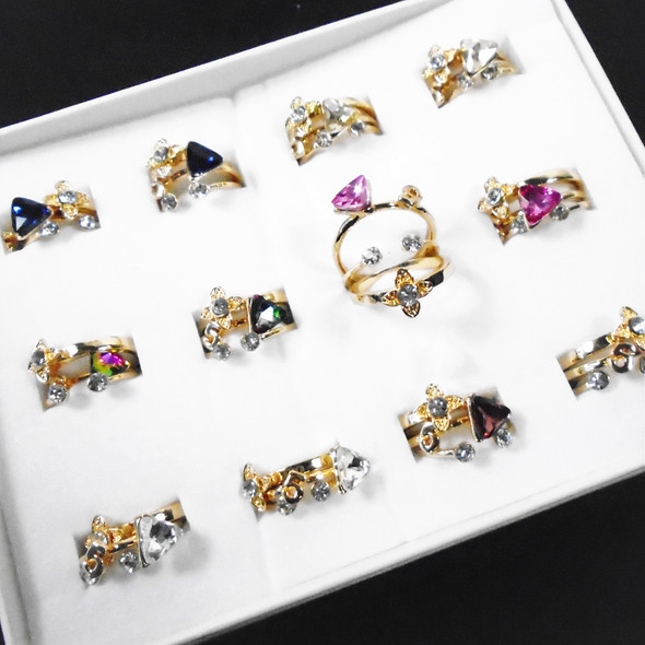 Gold Fashion Rings w/ Crystal Stones 36 per box Mixed  $ 6.50 per bx of 36 pcs