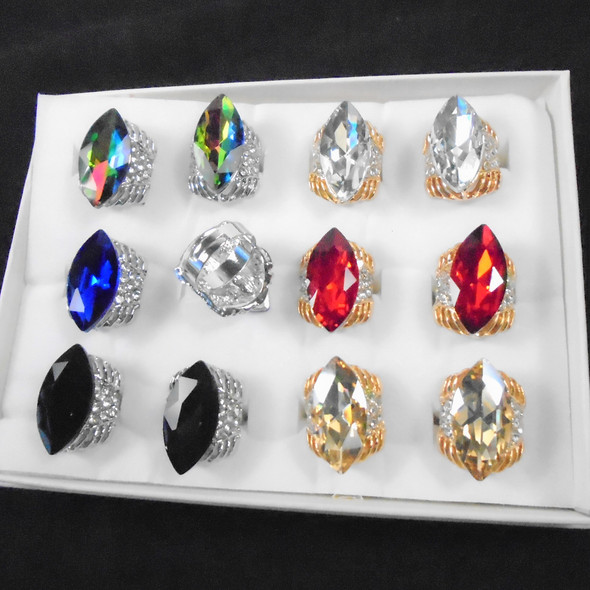 Gold & Silver Large Gem Stone Fashion Rings w/ Mini Crystals .56 each