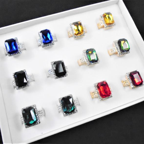 Gold & Silver Square Gem Stone Fashion Rings w/ Mini Crystals .56 each