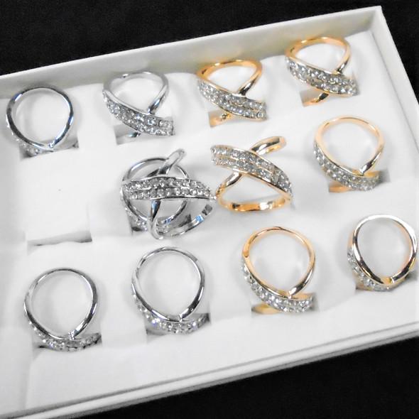 Hi Polished Gold & Silver DBL Fashion Rings w/ Crystal Stones  .58 ea