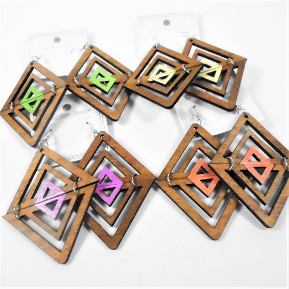 "2.75"" 2 Part Wood Fashion Earrings Pastels  .54 per pair"