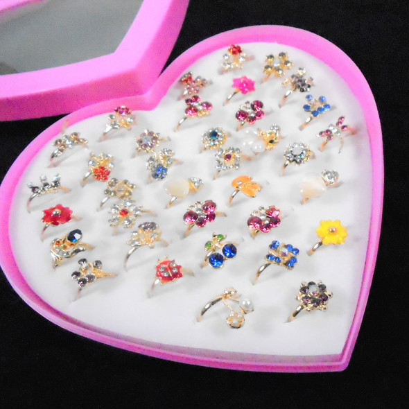 Mixed Style Kid's Crystal Stone Fashion Rings 36 pc box (2309) .20 each