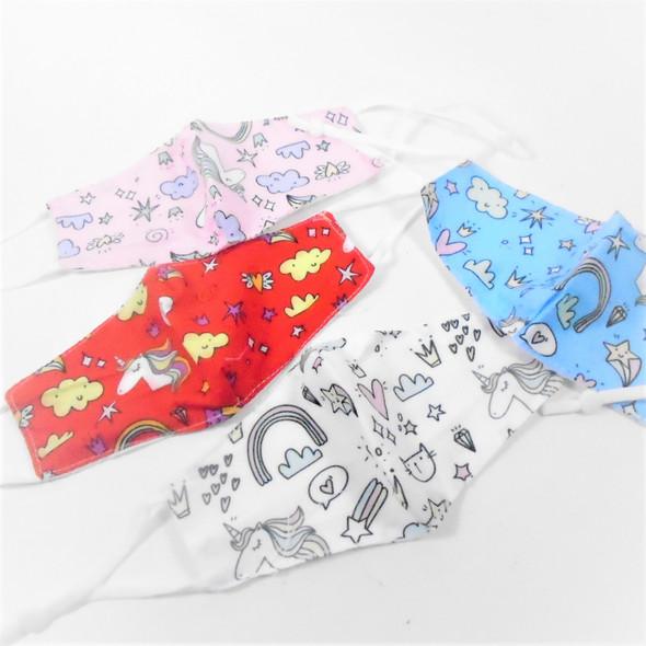 Kids Unicorn Theme  Print 2 Layer   Adjustable Protective Face Mask  12 per pk .54 ea