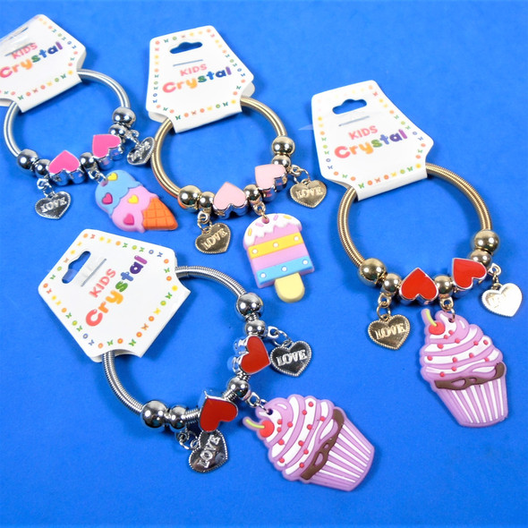 KID'S Snack Charm Theme Spring Style Fashion Bracelets -  Silver/Gold .54 each