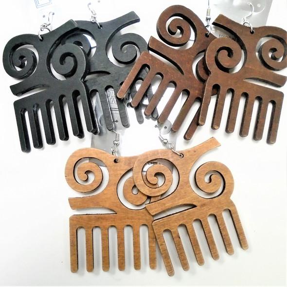 "3"" Wood Earring Adrinka Combo Theme 3 colors .54 per pair"