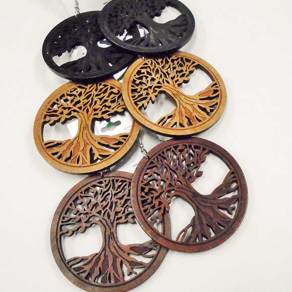 "2.5"" Rd. Wood Tree of Life Earring 3 colors .54 each"