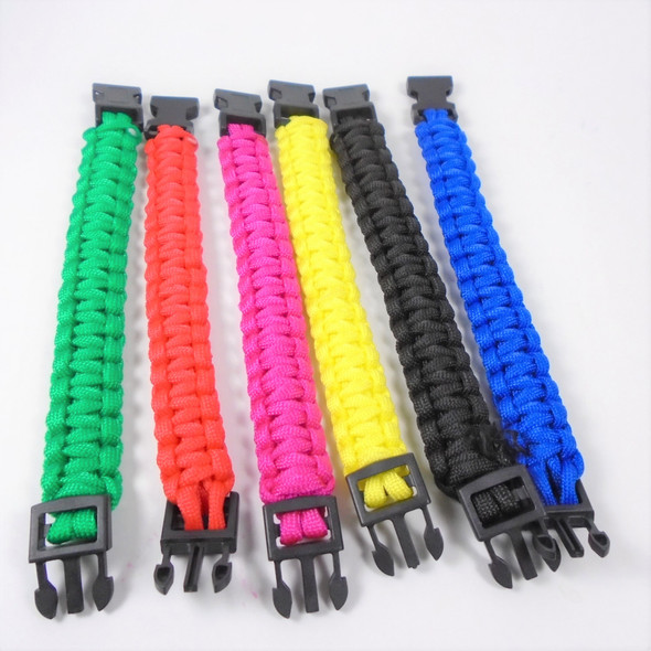 "8"" Asst  Color Paracord Bracelets Asst Colors  12 per pk .75 ea"