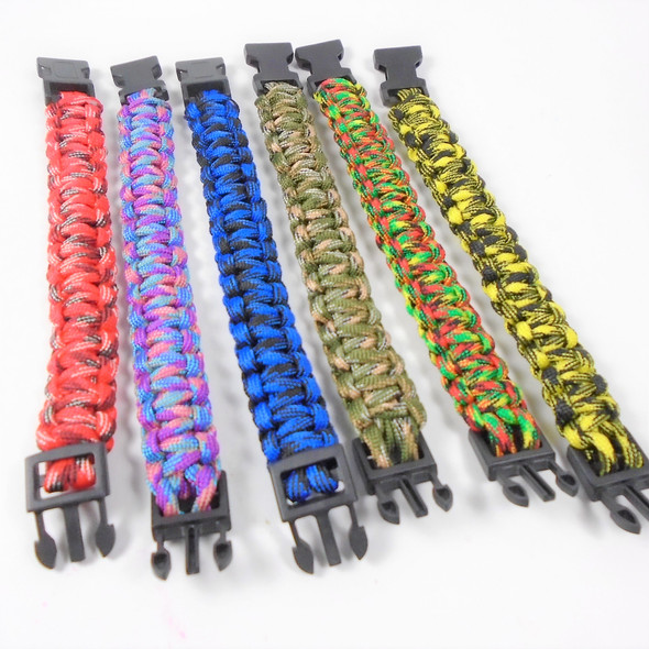 "8"" Multi Color Paracord Bracelets Asst Colors  12 per pk .75 ea"