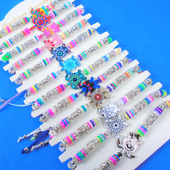 Cord Beaded Bracelets w/ Multi Color Turtle Charm 12 per card .56 each