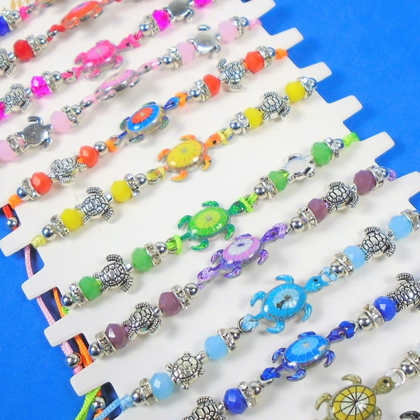 Cord Beaded Bracelets w/ Turtle Charms 12 per card .56 each