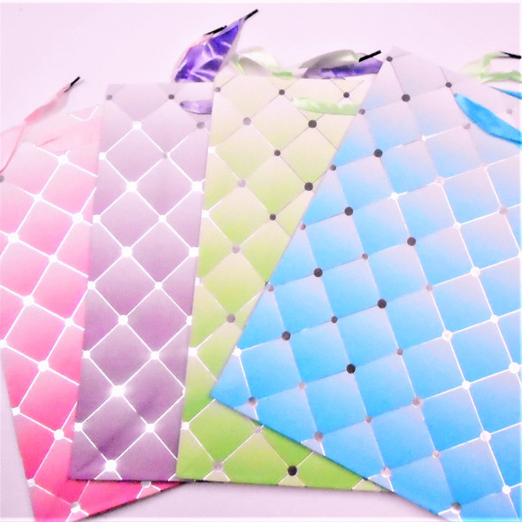 """10"""" X 13"""" Shiney Pastel  Hi Quality Gift Bags  4 colors .56 each"""