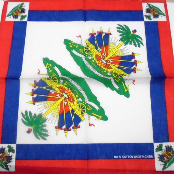 Bandana Haiti Counrty Flag  DBL Side Printed  .56 ea