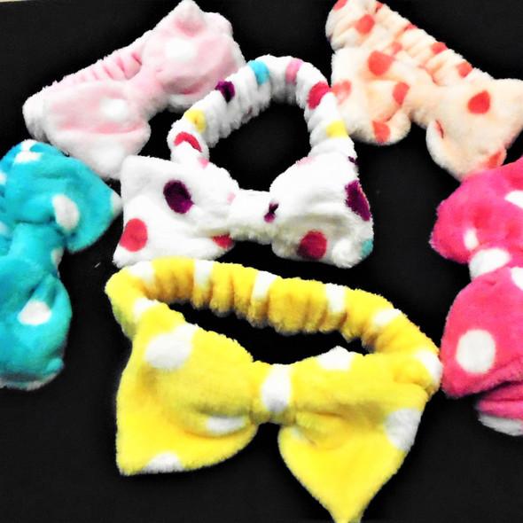 Trending SPA Stretch Headband w/ Bow Faux Fur Feel Mixed Poka Dots  .58 each