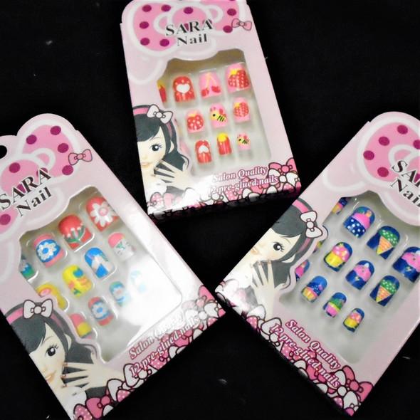 """Kids Mixed Style 12 Pk Pre Glued Fashion Nails .50 ea set"