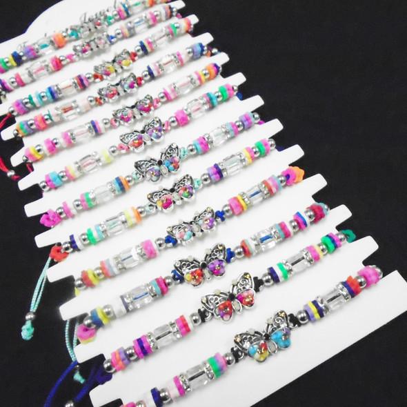 Cord Beaded Bracelets w/ Beaded Butterfly Charm 12 per card .56 each