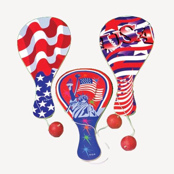 "9"" Patriotic Theme Paddle Balls 12 per pk  .41 ea"