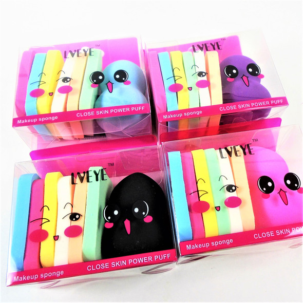 SPECIAL-- 7 pc Cosmetic Foam Sponge Gift Set  Asst Colors .65 per set