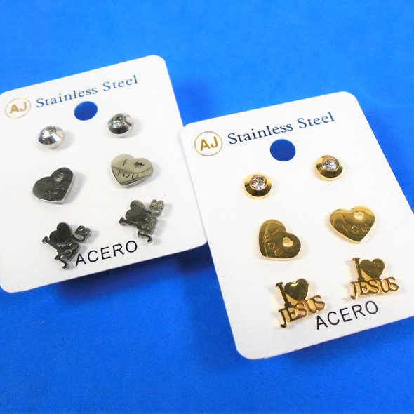 3 -Pair Gold & Silver Stainless Steel Earrings JESUS/Love Theme   .58 per set