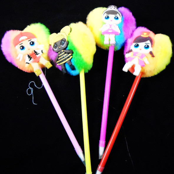 "8.5"" Multi Color Heart Pom Pom Pens  w/ Kids Figure  12 per pk  .58 ea"