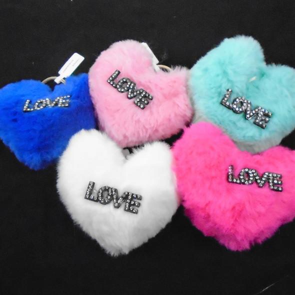 """4"""" Faux Fur Pom Pom Heart  Keychain w/ Stone Love   .56 ea"""