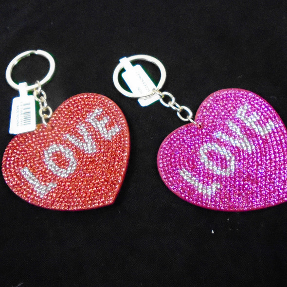"2.75"" Crystal Stone LOVE Heart Shaped Keychains  .62 each"