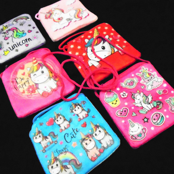 "4.5"" Velveteen Unicorn Theme Zipper Bag w/ Strap  .56 ea"