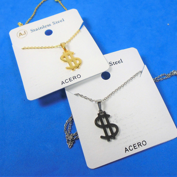 Gold & Silver Stainless Steel $$$  Pend. Necklace   12 per pk  .58 ea