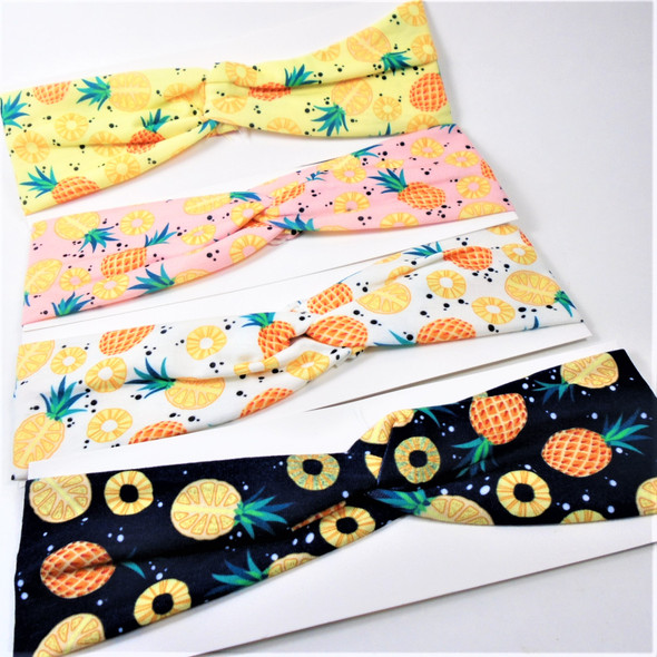"3"" Pineapple Theme Stretch Headbands Asst Color (2006) 12 per pk  .58 each"