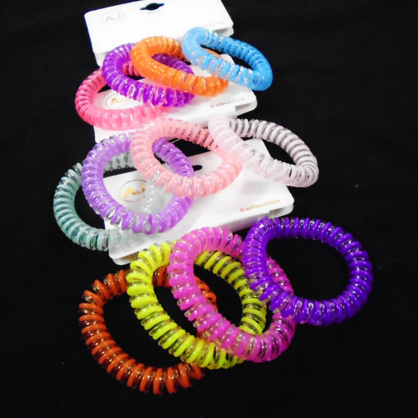 4 Pack Phone Coil Ponytailers/Bracelets Multi Bright Two Tone Colors .56 per set