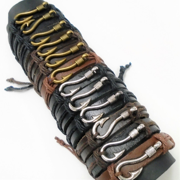 Popular Teen Leather Bracelet w/ Gold & Silver Fish Hook  .56 each