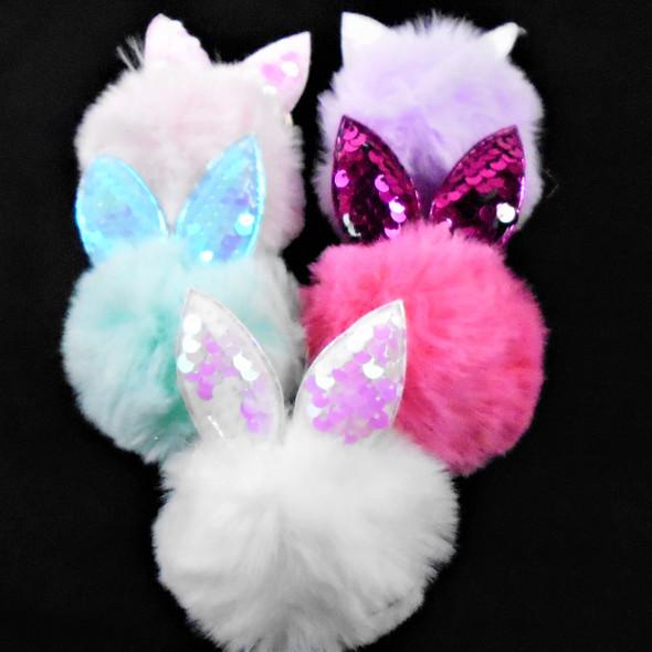 "4"" Faux Fur Pom Pom  Keychain/Clip w/ Sequin Bunny Ears    .56 ea"