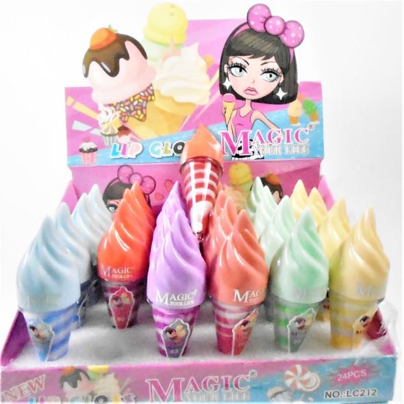 """4"""" Two Tone Color Scented Lip Gloss Ice Cream Cone Theme  24 pcs per display bx .62 ea"""
