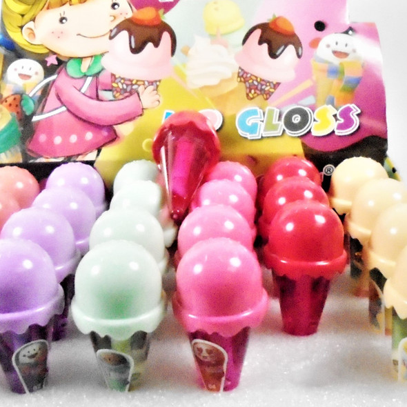 "3"" Clear Color Scented Lip Gloss Ice Cream Cone Theme  24 pcs per display bx .60 ea"