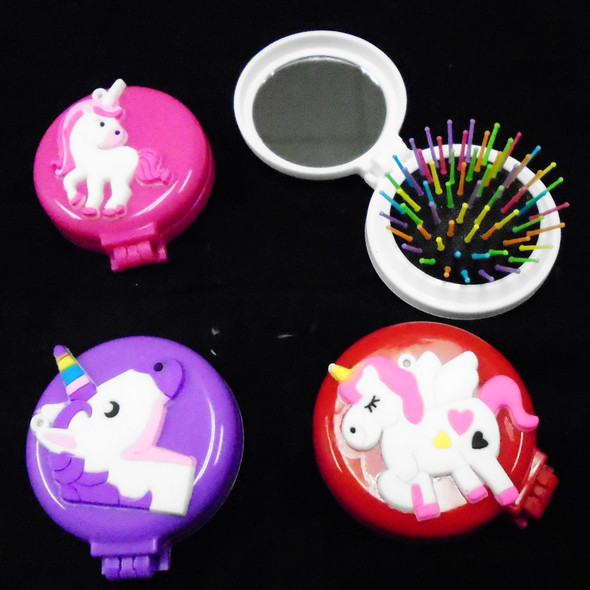 Round Pocket Size Flip Hair Brush w/ Mirror  Unicorn Theme .58 each