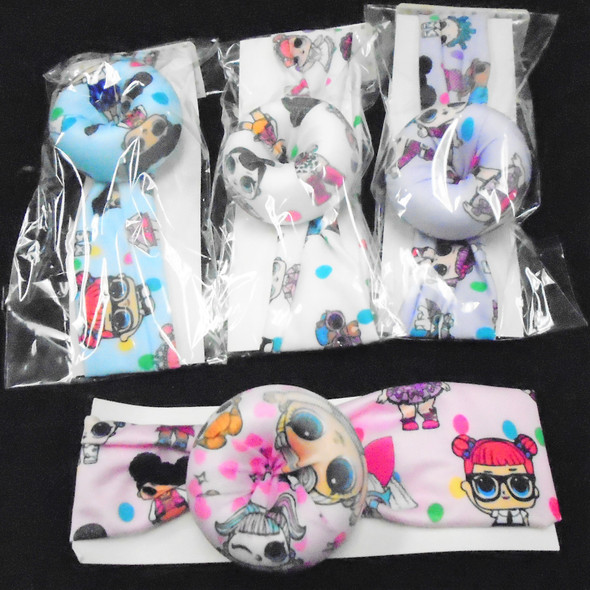"Trendy 2"" Mixed Kids  Print Fabric  Stretch  Headbands w/ Donut   .56 ea"
