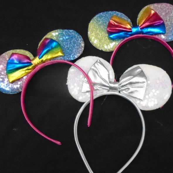 "7"" Wide Sequin Mouse Ear Headbands w/ Metallic Bow  .58 each"