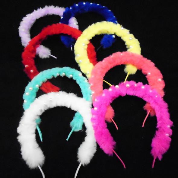 Cool Faux Fur Headbands Mixed  Colors  w/ Pearls  .56 ea