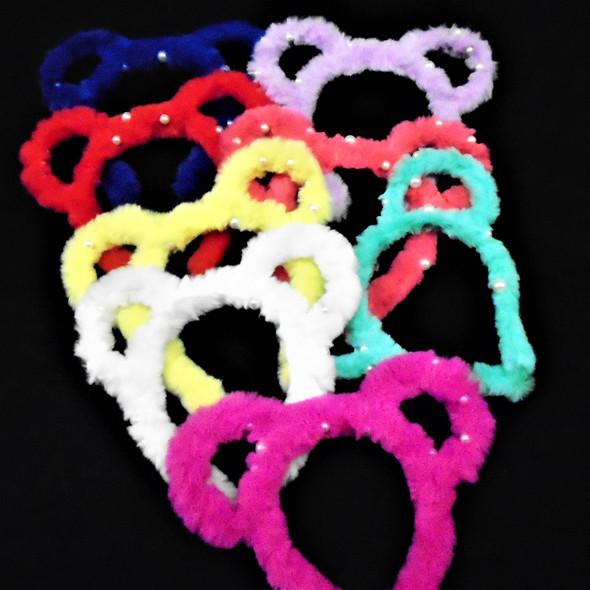 So Cool Mouse Ear Faux Fur Headbands w/ Pearls Mixed Bright Colors   .58 ea