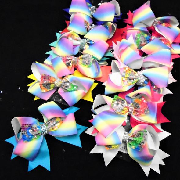 """5"""" Multi Color Gator Clip  Bows w. Sequin Center Bow  .54 ea"""