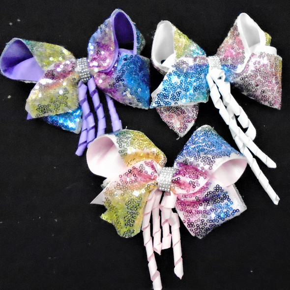 """6"""" Multi Color 2 Layer Gator Clip  Bows w. Curly Ribbons   .58 ea"""
