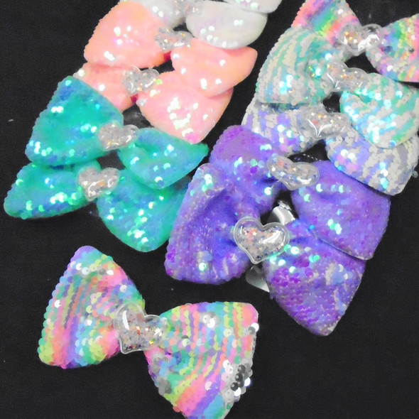 """5.5"""" Big Sequin Gator Clip  Bows w. Glitter Heart  Center   .56 ea"""