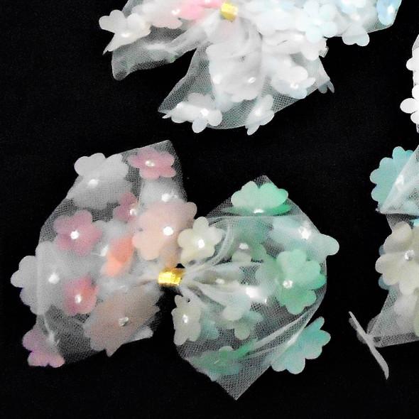 "5"" Multi Color Flower Theme Gator Clip  Bows w. Lace  .54 ea"