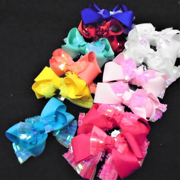 """5"""" 2 Layer Sequin Gator Clip  Bows  Asst Colors   .54 ea"""