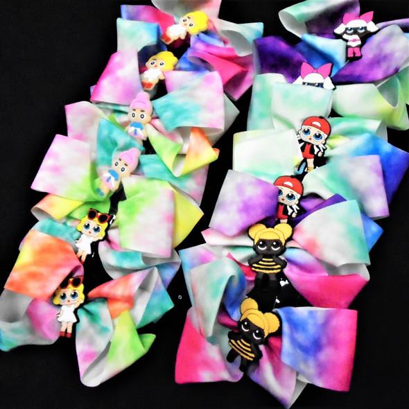 """5"""" Tye Dye  Gator Clip  Bows Kids Theme    .56 ea"""