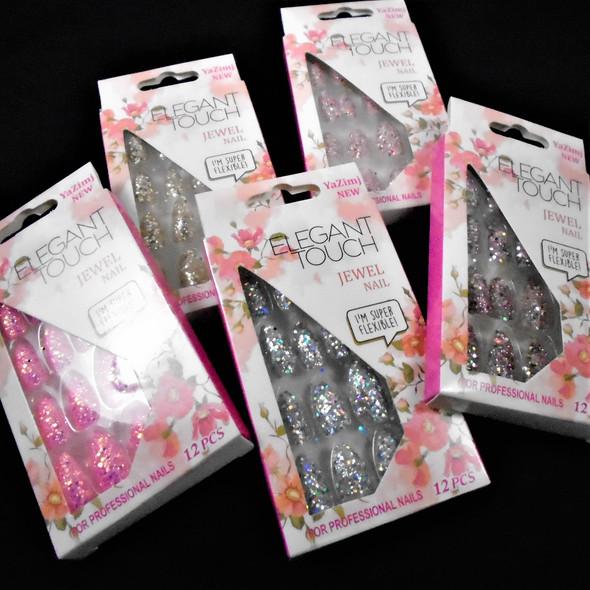 """""""NEW Sparkle  Glitter   12 Pk Pre Glued Fashion Nails ( .54 each set"""