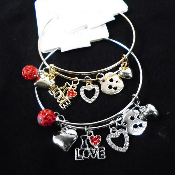 Gold & Silver Wire Bangle Bracelet LOVE Theme  Charms  & Fire Ball .58  each